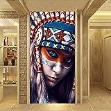 YuanMinglu Art Guerrier Femmes Américain Native Girl Mur Art Photos pour Salon Toile Peinture Affiches Et Impressions sans Cadre peinture40x80 cm