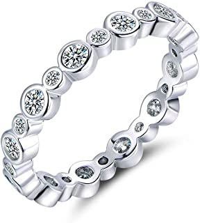 Sterling Silver Cubic Zirconia Stackable Ring Eternity Engagement Wedding Bands for Women