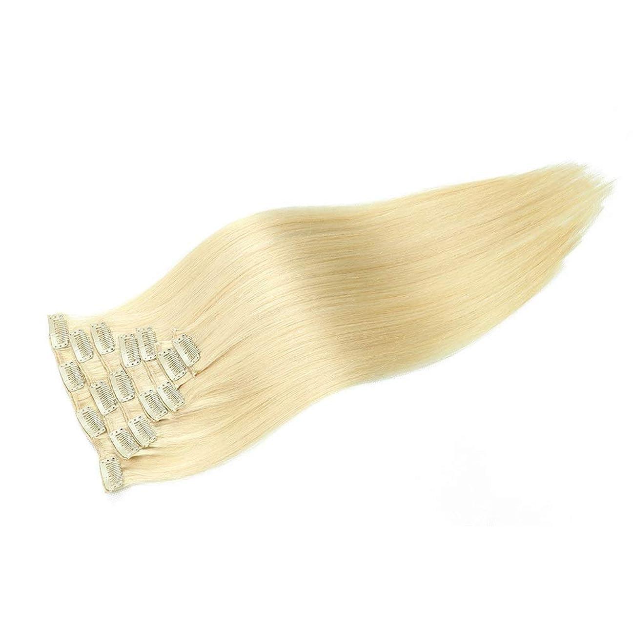 フェデレーション説明裸HOHYLLYA ブロンドのかつら女性のための20インチ100グラムクリップヘアエクステンション#613ブロンドカラーダブル横糸ストレートパーティーウィッグ (色 : #613 blonde)