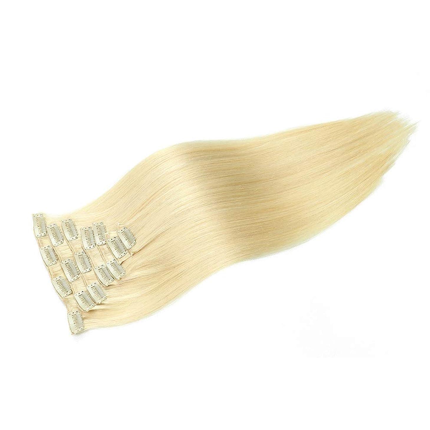 メロディーエントリパークHOHYLLYA ブロンドのかつら女性のための20インチ100グラムクリップヘアエクステンション#613ブロンドカラーダブル横糸ストレートパーティーウィッグ (色 : #613 blonde)