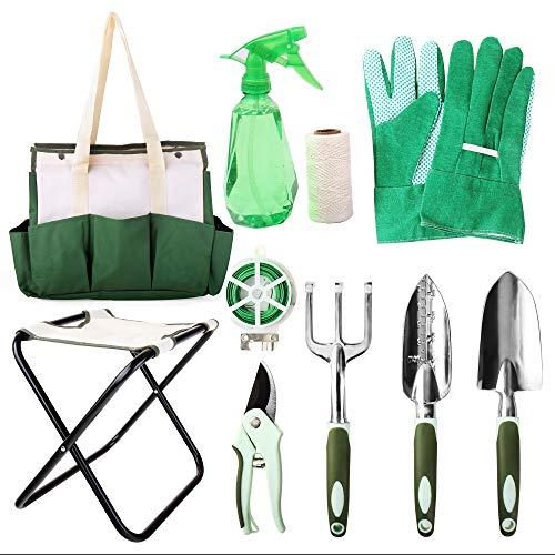 Preisvergleich Produktbild Hi-Spec 9-teiliges Alles-in-einem Gartenwerkzeug & Klappstuhl-Set mit Tasche