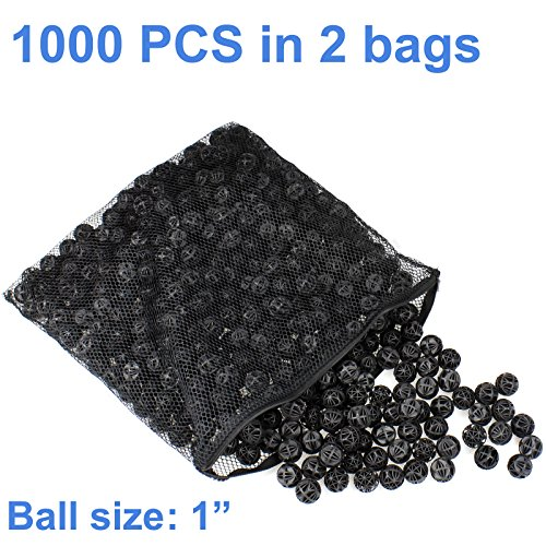 "AQUANEAT 1000pcs 1"" Bio Balls 4 Gal Aquarium Filter Media Pond Canister Filter Media"