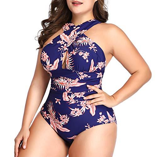 Begonia.K Women's Plus Size Floral Print Swimsuit Criss Cross Halter One Piece Swimsuit (XL...