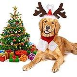Disfraz de perro de Navidad Legendog, ajustable para la cabeza y bufanda de la mascota de Navidad para perros y gatitos, regalo (gorro, bufanda)