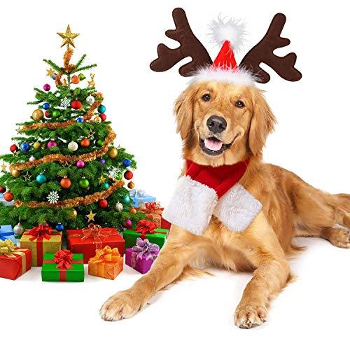 Dorakitten Haustier Weihnachten Stirnband, 2 PCS Weihnachten Schal für Haustier und Weihnachten Rentiergeweih Stirnband Set Weihnachten Hundekleidung für Kleine und Mittelgroße Hunde Katzen