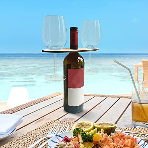 Mesa de vino al aire libre con soporte para botellas, mesa plegable para exteriores, mesa de playa, mesa de vino al aire libre, mesa de picnic para jardín, mesa plegable de picnic de madera
