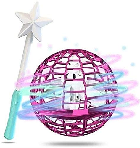 XiuLi Flynova pro Flying Toys, Ball Shape Magic Controller Mini Drone Flying Toys Flying Spinner 360 ° Rotating Rotating LED Lights (Color : Pink, Size : A)