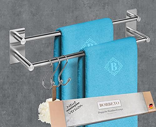 BORBETO® Doppelte Handtuchstange [40cm] – OHNE Bohren – MARKENKLEBER – Hochwertige Edelstahloptik – [3] Handtuchhaken Inklusive – Handtuchhalter für Küche und Bad