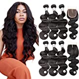 Beauty Princess Body Wave Human Hair 3 Bundles Double Weft 8A Brazilian Hair Bundles (14 16 18+12inch hair)
