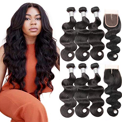 Beauty Princess Brazilian Body Wave with Closure 9A Unprocessed Brazilian Virgin Hair 3 Bundles with Middle Part Closure Natural Black Human Hair Bundles With Closure(18 20 22with 16)