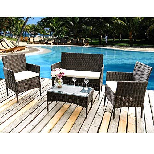 topever Juego de muebles de patio al aire libre, 4 piezas, sillas de mimbre, para uso en interiores y exteriores, porche, jardín, piscina, balcón, muebles (marrón)