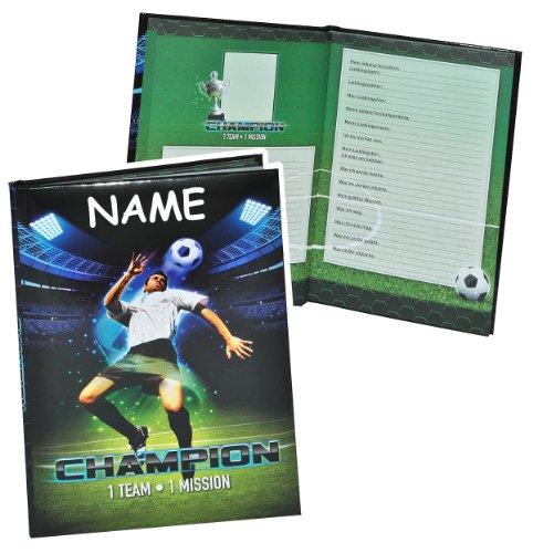 Meine Freunde Buch - Fussball Champion für Jungen - mit Namen - dick gebunden für Schulfreunde Poesie A5 Hardcover - Freundebuch Poesiealbum Kinder Schule