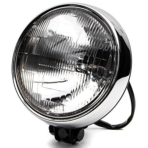 "Krator 6"" Black w/Chrome Ring Motorcycle Headlight Bottom Mount Running Light Hi/Lo"