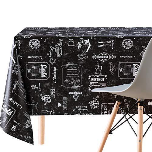 KP Home Manteles Hule Modernos Rectangular Estilo Impresión de Tiza Negro de PVC Fácil de Limpiar - 250 x 140 cm - Mantel de Vinilo Plástico Fácilmente Limpiable