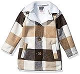 Kensie - Girl's Outerwear Girls' Little Plaid Wool Sherpa Jacket, Camel, 14/16