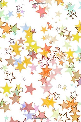 STARS NOTEBOOK: Colorful notebook to write in, lined pages, double sided cover, contrasting printed spine, perfect gift for women girls who love stars & a pretty print