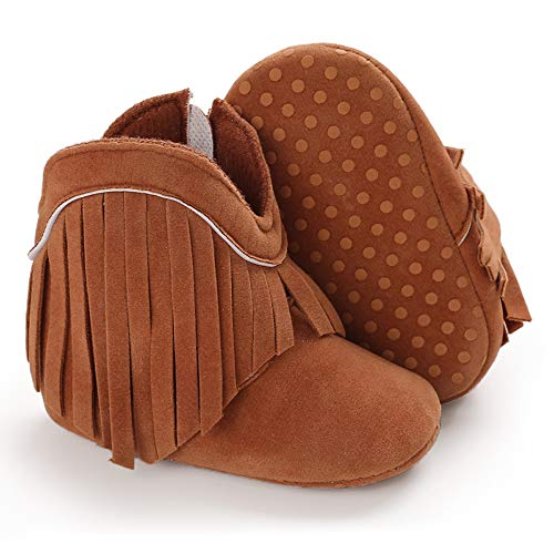 TIMATEGO Baby Girl Cowboy Tassel Boots Side Zipper Non Slip Stay On Booties Infant Toddler First Walker Warm Winter Crib Shoes 3-18 Months, Baby Girl Boots 6-12 Months Infant, 02 Brown