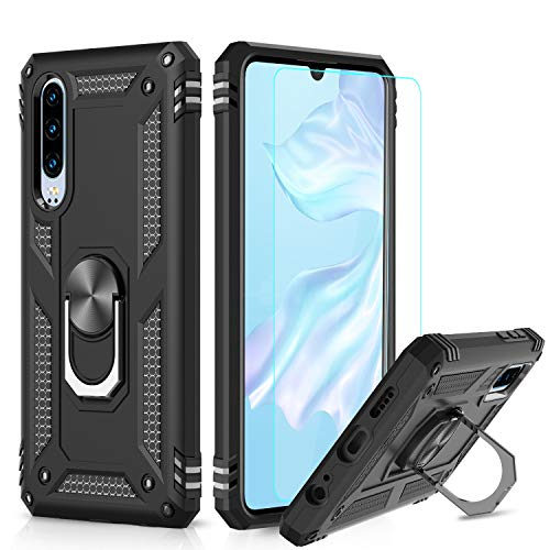 LeYi Hülle Huawei P30 Handyhülle,360 Grad Drehbar Ringhalter Cover TPU Magnetische Bumper Stoßdämpfung Schutzhülle mit HD Folie Schutzfolie für Case Huawei P30 Handy Hüllen Schwarz