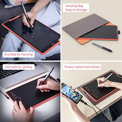 HUION 2019 Nuevo Inspiroy Ink H320M Tableta Gráfica de Diseño de Doble Propósito y Tableta de Escritura LCD, Compatible con Función de Inclinación, Compatible con Windows, macOS, Android (Coral Red)