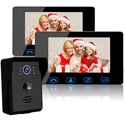 """Wired Video Doorbell Intercom System, Video Doorbell Kit with 2-7"""" Color Monitor and HD Camera Night Vision for Home Security Video Door Phone Intercom"""