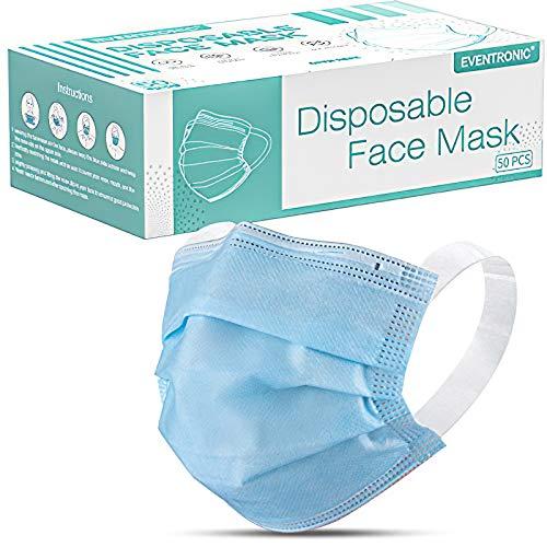 Eventronic 50 Stück Einweg-Gesichtsmasken,Kommt mit bequemen Breiten Ohrschlaufen,50 Stück Blau, 3 lagig Mund-Nasen-Schutz,Mund und nasenschutz