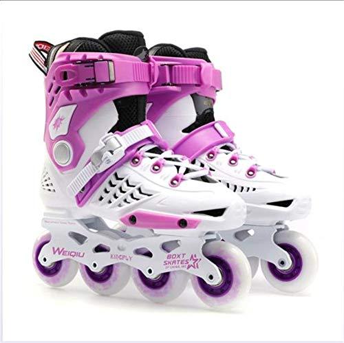 HHORD Einstellbare, Inline-Skates, Erwachsene Fitness Inline Skates Für Mädchen Und Jungen, Schwarz, Weiß, Gold Und Purpur, Inline Skates,Lila,40