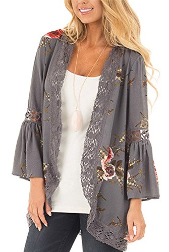 Kimono for Women Cardigans Floral Print Chiffon Beach Cover ups Loose Casual Tops(Grey,XL)