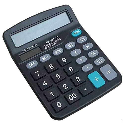 12 Digit Electronics Desktop Calculator, Solar Battery Dual Power Basic Office Calculator, Handheld Calculator with Large LCD Display Big Sensitive Button