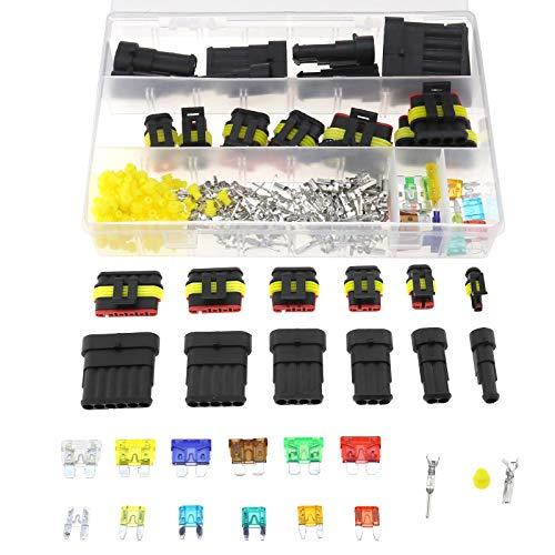 240 Stks Elektrische Wire Connector voor auto met klemmen en zekeringen Box Assortiment Kit voor voertuig Motorfiets Auto 1 2 3 4 5 6 Pin Plug
