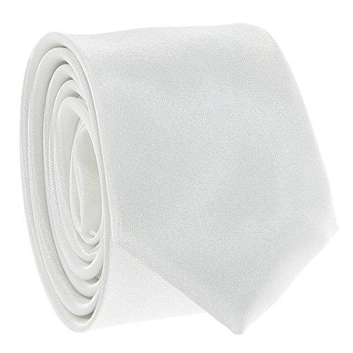 Cravate Fine Blanche - Cravate Homme Coupe Slim Moderne - 5cm à la Pointe - Couleur Unie - Accessoire Chemise pour Mariage, Cérémonie