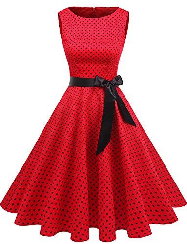 Gardenwed Annata 1950 retrò Rockabilly Polka Vestito da Audery Swing Senza Maniche Abito da Cocktail Partito Red Small Black DOT XS