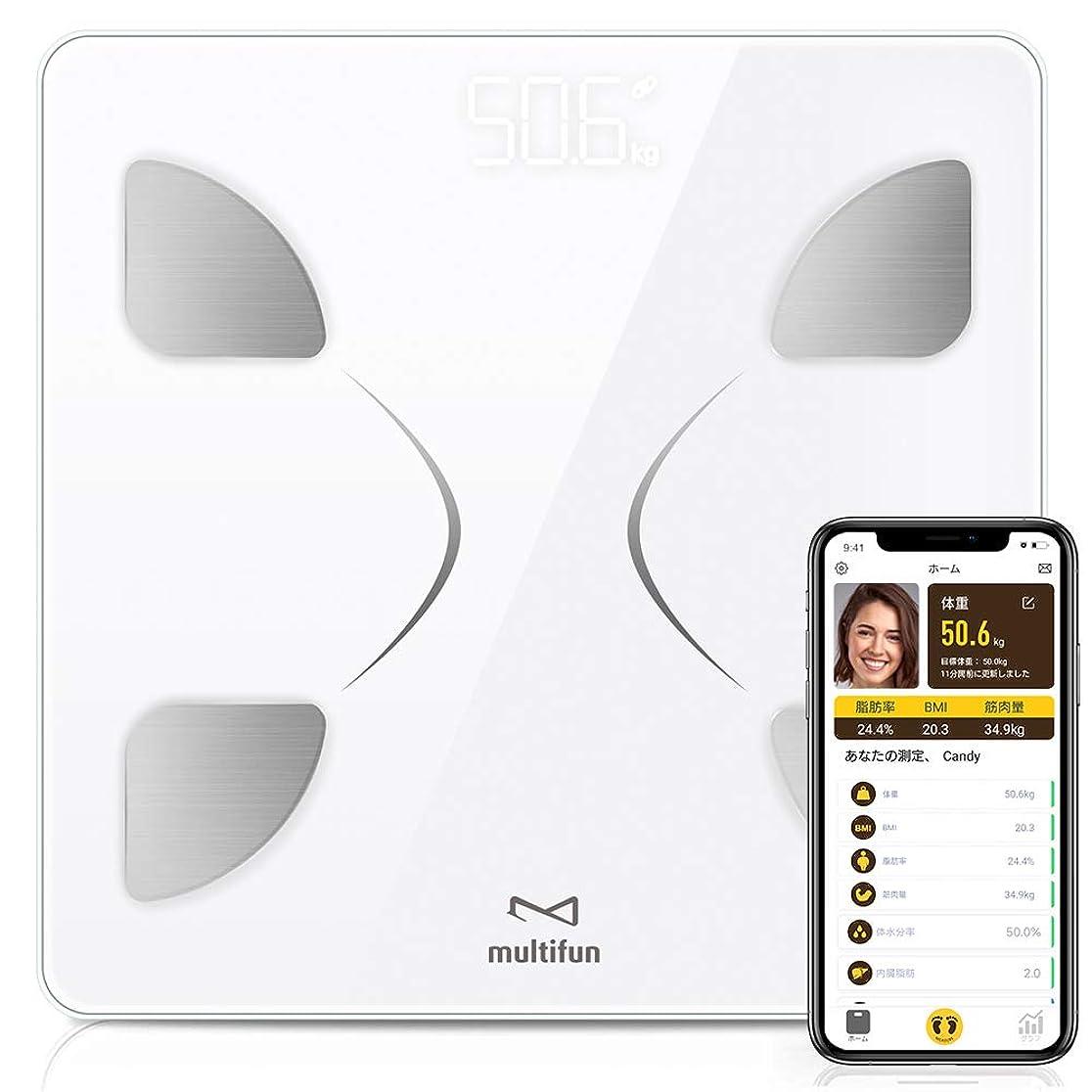 センターハイブリッドマーガレットミッチェル「アプリが大幅改善!」multifun 体重計 体組成計 体脂肪計 薄型 軽量 高精度 電源自動ON/OFF スマホ連動 スマートスケール 体重/体脂肪率/体水分率/推定骨量/BMIなど14組みのデータを測定 Bluetooth対応 iOS/Androidアプリで健康管理 日本語APP&説明書対応 収納便利 ホワイト