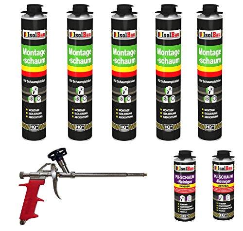 SET Pistolenschaum 5 Dose 750 ml Montageschaum 1K Bauschaum PU-Schaum + 2 Reiniger + 1 Schaumpistole
