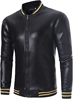 SAINDERMIRA Men's Metallic Shiny Zip Up Baseball Bomber Jacket Nightclub Flight Coat