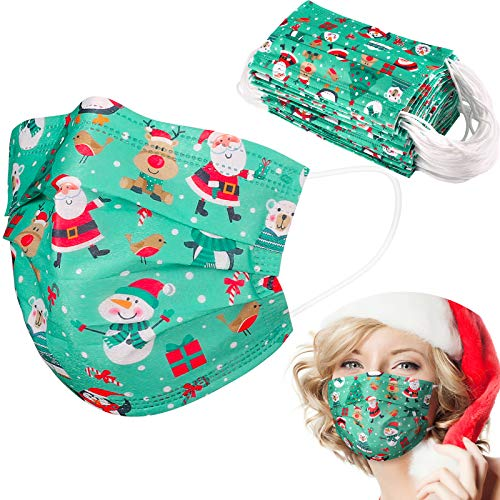 Disposable Face Masks with Santa Claus Snowman Print,Adjustable Nose Clip,50 Pack 3 PLY Breathable Green Facial Safety Mask Cover Dustproof Protection for Christmas Festival Party Adults Women Men