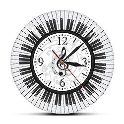 xutingting Wall Clocks Piano Keyboard Treble Clef Wall Art Modern Wall Clock Musical Notes Black and White Wall Watch Music Studio Decor Pianist Gift