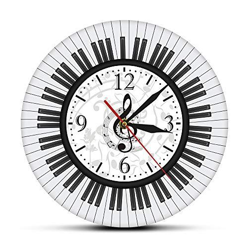 guijinpeng Wanduhr Lautlos Wanduhr 12 Zoll HD Farbdruck Klavier Tastatur Violinschlüssel Notenschlüssel Wandkunst Moderne Wanduhr Musiknoten Schwarz-Weiß-Wanduhr Musikstudio Dekor Pianist Geschenk