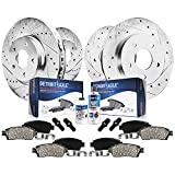 Detroit Axle - Front and Rear Drilled & Slotted Rotors Brake Pads for 2003 - 2007 Jeep Liberty - 10pc Set