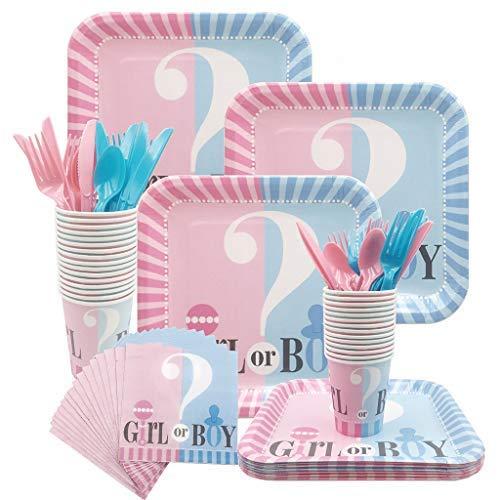 DreamJing Vaisselle Révèle Genre Bébé Girl Or Boy - 124 Pcs Kit Fournitures Fête Prénatale Baby Shower Baptême Assiettes Carton Tasses Gobelet Serviettes de Table en Papier Cuillère à Couverts