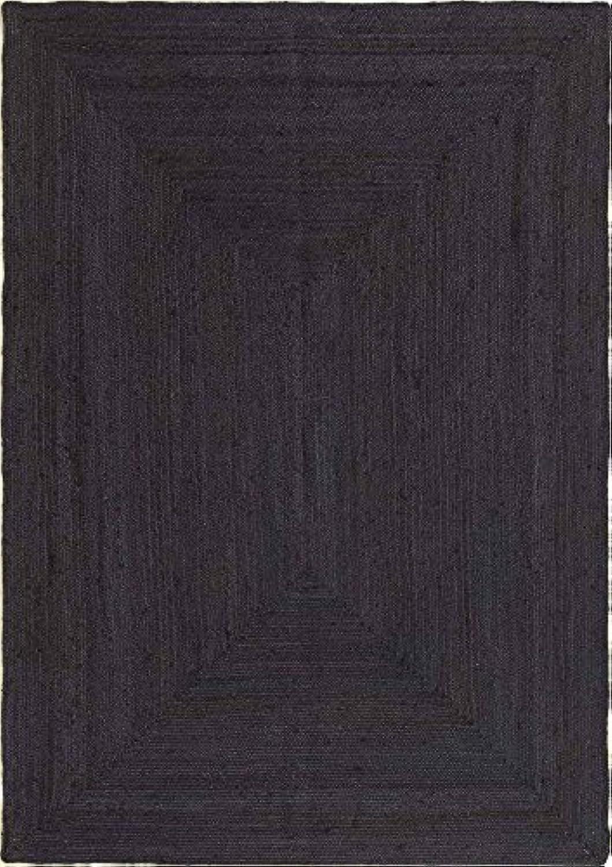 HAMID Jute Teppich - Alhambra Teppich 100% Naturfaser de Jute - Farbe schwarz (120x170cm)