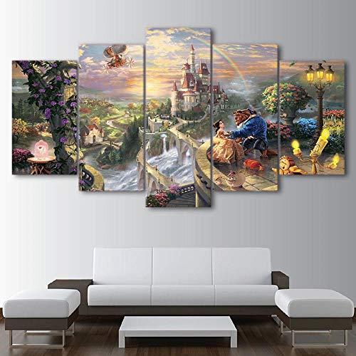 HNSYZS Lienzo 5 Partes de Pintura artística La Bella y la Bestia del Castillo de Dibujos Animados la decoración del Moderno Sala Decorativos