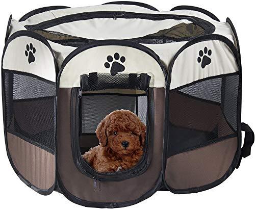 Corral portátil plegable para mascotas, FayTun jaula de 8 paneles para perros y gatos, tienda de campaña plegable y portátil para perros y gatos (28 'x28 'x18 'H)
