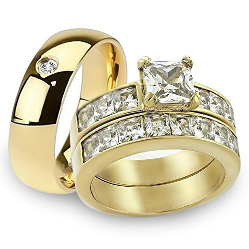 Marimor Jewelry His & Her 14K G.P. Stainless Steel 3pc Wedding Engagement Ring & Men