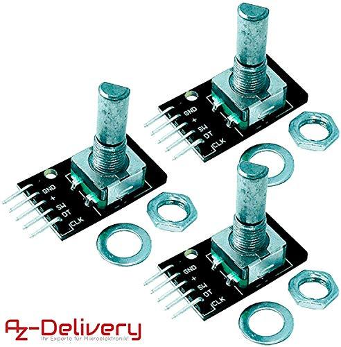AZDelivery 3 x KY-040 Drehwinkelgeber Drehgeber Rotary Encoder Modul kompatibel mit Arduino inklusive E-Book!