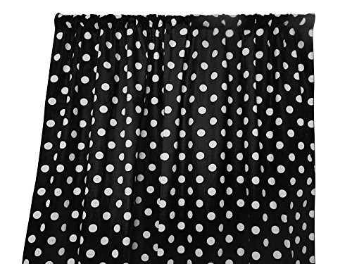 """lovemyfabric Cotton Polka Dot Print Curtain Panel 58"""" Wide Home Decor/Window Treatment/Photography Backdrop/Photo-Booth Backdrop White on Black (36"""" Tall)"""