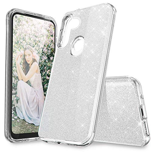 for Samsung A11 Case, Cute Glitter Samsung Galaxy A11 Case for Girls Women Heavy-Duty Protective Shockproof Phone Cases Cover for Samsung A11 2020 (Silver)