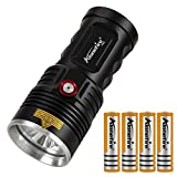Alonefire H42 Tactical LED Torch High Power 8000 Lumens Super Bright 3PCS XHP50 LED USB Rechargeable Powerful Flashlight with 4x18650 Battery, Charging Indicator for Hunting Police Security Military