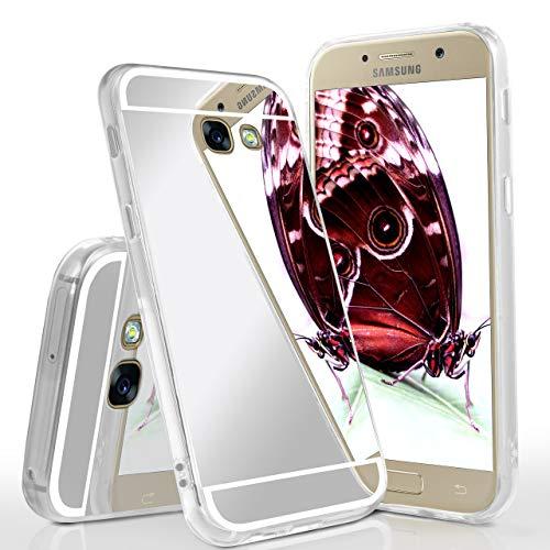 moex Verspiegelte Silikonhülle kompatibel mit Samsung Galaxy A5 (2017)   Praktischer Handyschutz + Taschenspiegel in einzigartigem Design, Silber