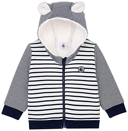 Petit Bateau A01IA Cardigan, Blanc/Bleu, 36 Mois Bébé garçon