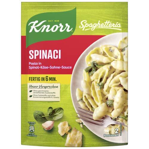 Knorr Spaghetteria Spinaci Nudel- Fertiggericht Pasta in Spinat-Käse-Sahne-Sauce, 160 g 2 Portionen